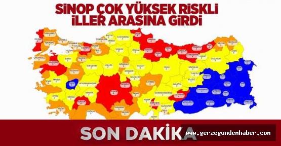 Sinop riskli iller arasında