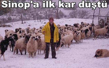 Sinop'ta mevsimin ilk karı yağdı.